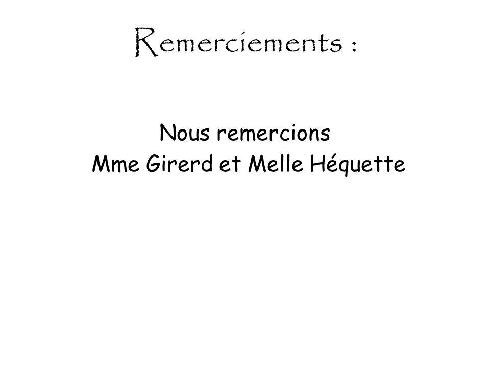 Remerciements : Nous remercions Mme Girerd et Melle Héquette