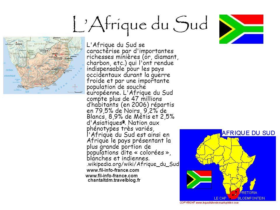 LAfrique du Sud L'Afrique du Sud se caractérise par d'importantes richesses minières (or, diamant, charbon, etc.) qui l'ont rendue indispensable pour