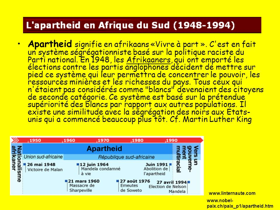 Apartheid signifie en afrikaans «Vivre à part ». C'est en fait un système ségrégationniste basé sur la politique raciste du Parti national. En 1948, l
