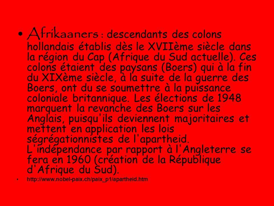Lapartheid Le premier février 1991 Le président de lAfrique du sud (Fréderick de Klerk) a déclaré la fin de lapartheid.