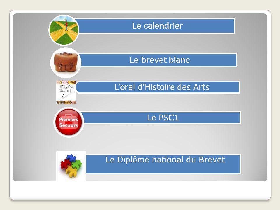 Le calendrier Le brevet blanc Loral dHistoire des Arts Le PSC1 Le Diplôme national du Brevet