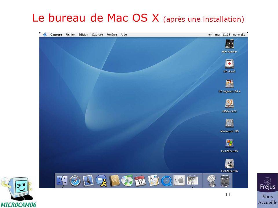 11 Le bureau de Mac OS X (après une installation)