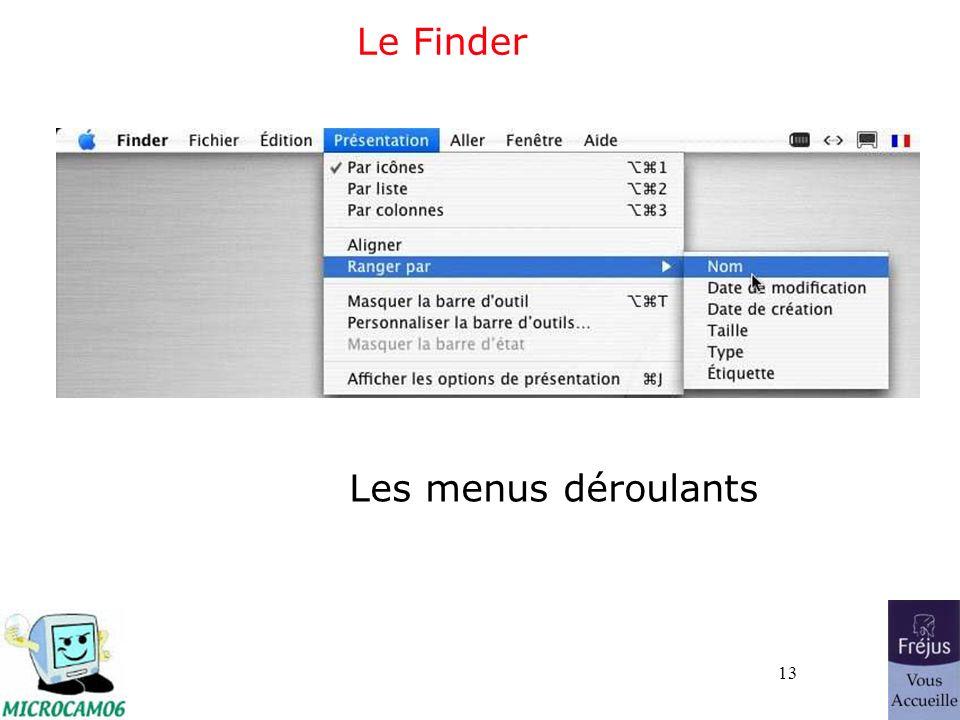 13 Le Finder Les menus déroulants