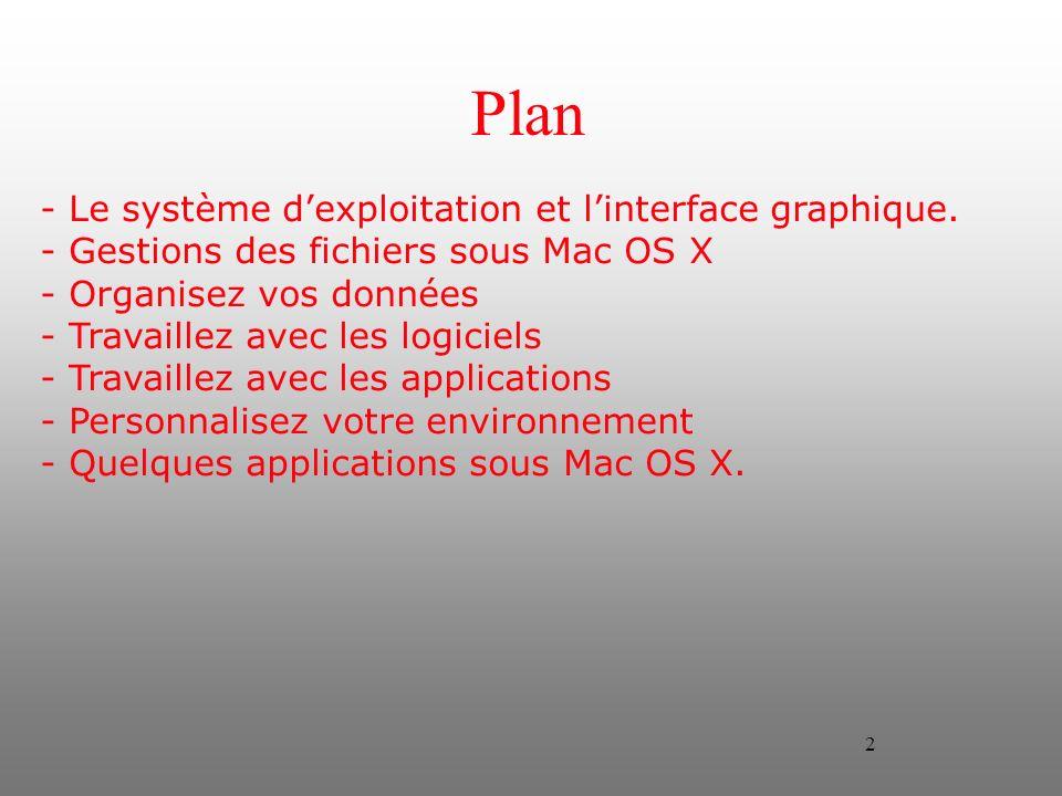 2 Plan - Le système dexploitation et linterface graphique. - Gestions des fichiers sous Mac OS X - Organisez vos données - Travaillez avec les logicie