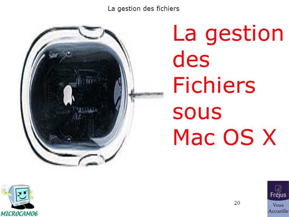 20 La gestion des fichiers La gestion des Fichiers sous Mac OS X