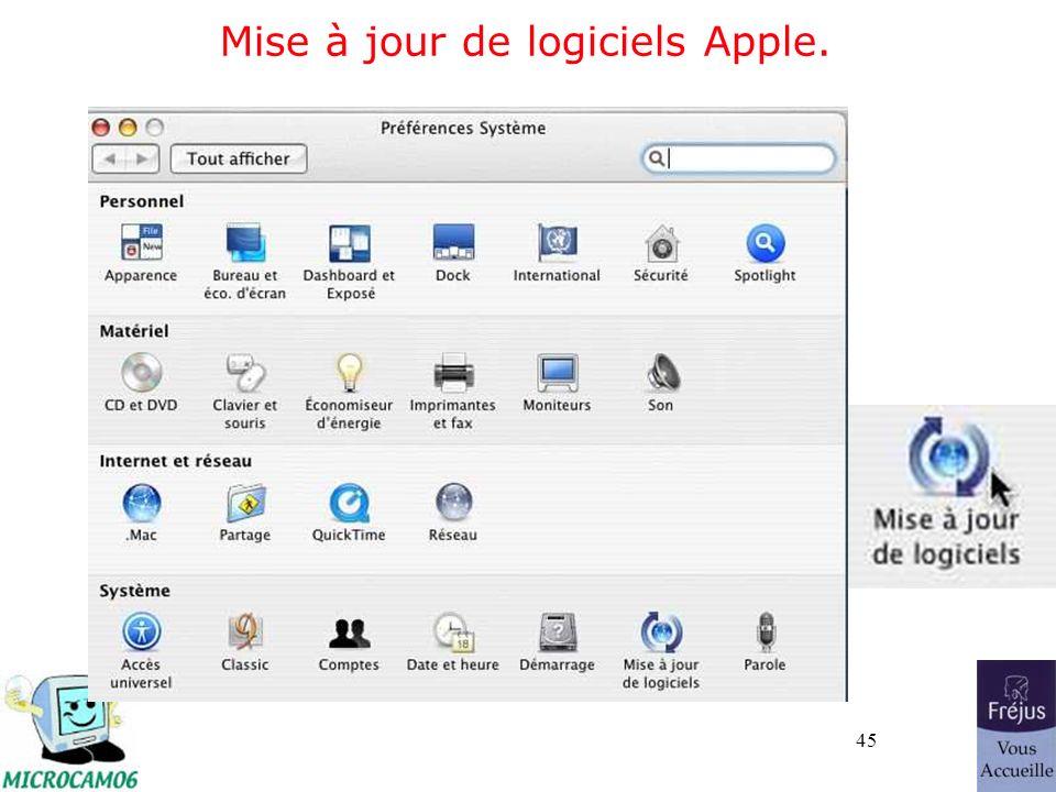 45 Mise à jour de logiciels Apple.