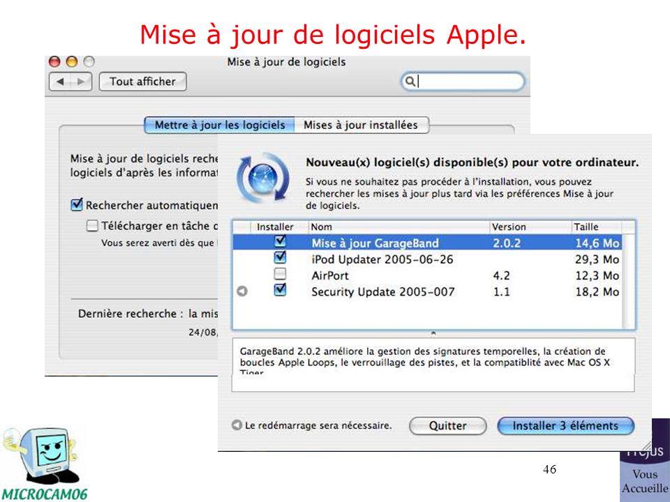 46 Mise à jour de logiciels Apple.