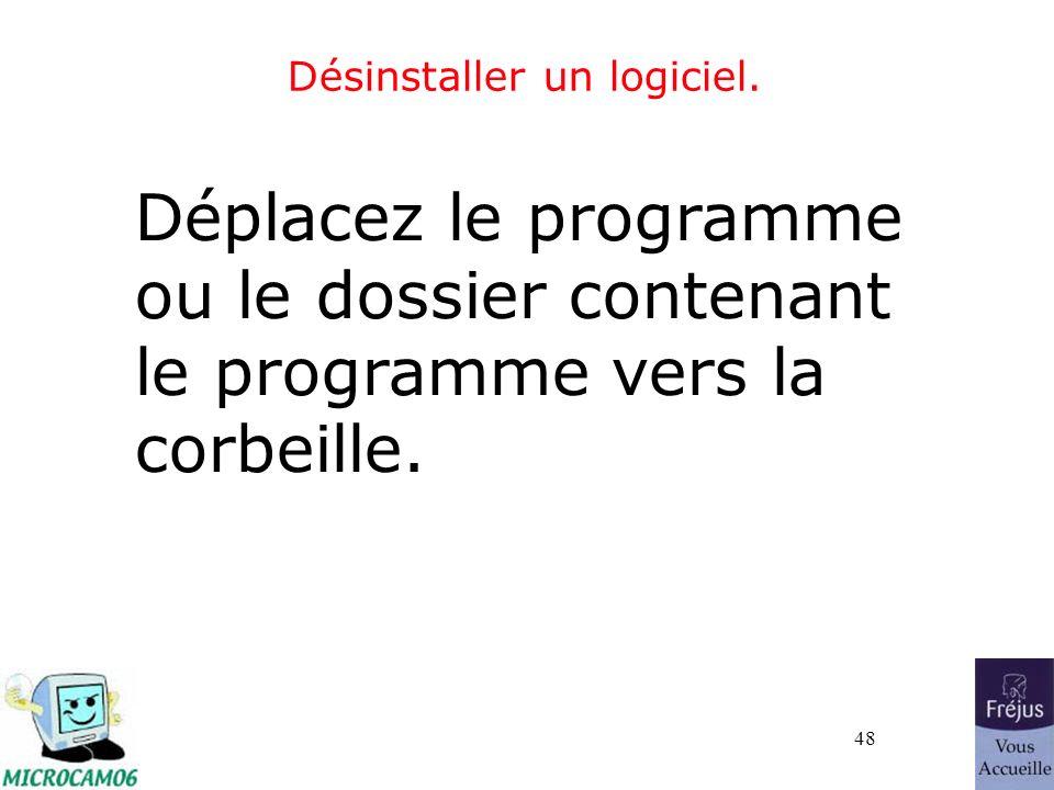 48 Désinstaller un logiciel. Déplacez le programme ou le dossier contenant le programme vers la corbeille.
