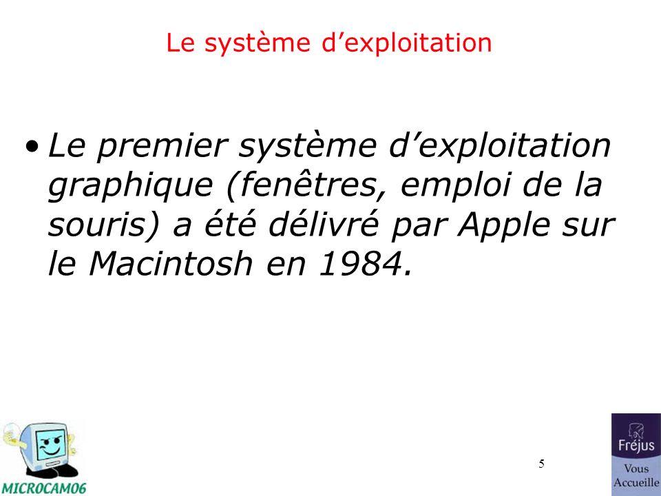 5 Le système dexploitation Le premier système dexploitation graphique (fenêtres, emploi de la souris) a été délivré par Apple sur le Macintosh en 1984