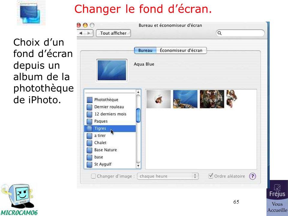 65 Changer le fond décran. Choix dun fond décran depuis un album de la photothèque de iPhoto.