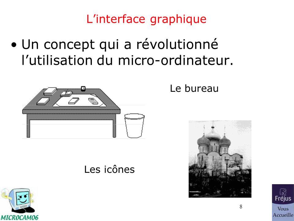8 Linterface graphique Un concept qui a révolutionné lutilisation du micro-ordinateur. Le bureau Les icônes