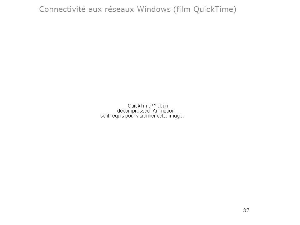87 Connectivité aux réseaux Windows (film QuickTime)