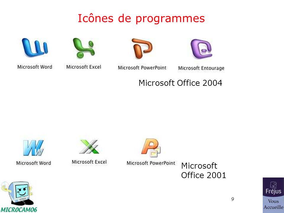 9 Icônes de programmes Microsoft Office 2004 Microsoft Office 2001