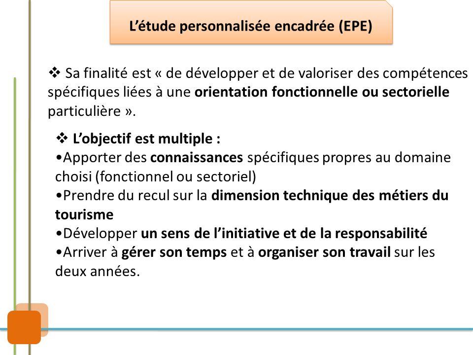 Sa finalité est « de développer et de valoriser des compétences spécifiques liées à une orientation fonctionnelle ou sectorielle particulière ». Lobje