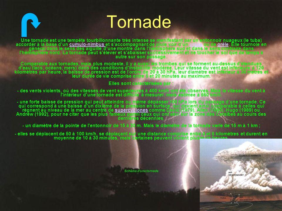 Tornade Une tornade est une tempête tourbillonnante très intense se manifestant par un entonnoir nuageux (le tuba) accordér à la base d'un cumulo-nimb
