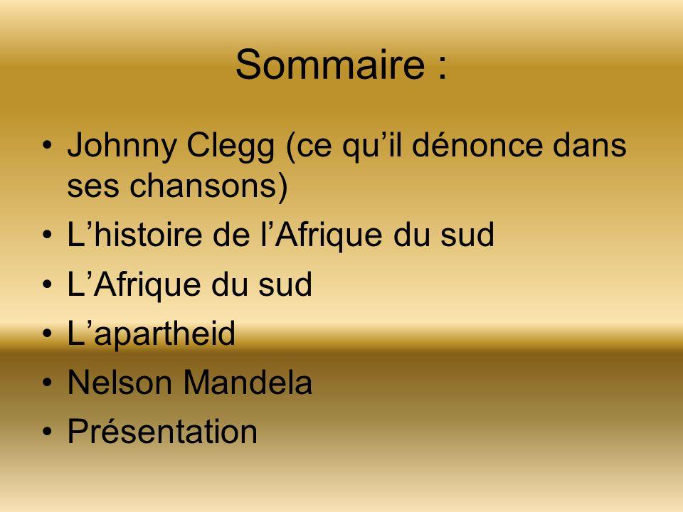 Sommaire : Johnny Clegg (ce quil dénonce dans ses chansons) Lhistoire de lAfrique du sud LAfrique du sud Lapartheid Nelson Mandela Présentation