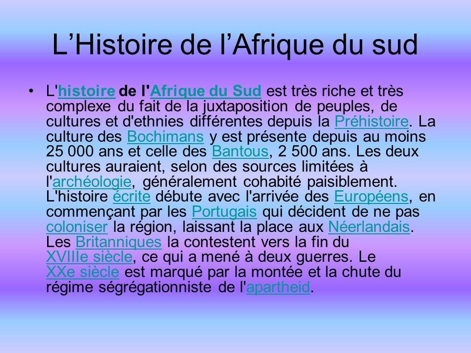 LHistoire de lAfrique du sud L histoire de l Afrique du Sud est très riche et très complexe du fait de la juxtaposition de peuples, de cultures et d ethnies différentes depuis la Préhistoire.