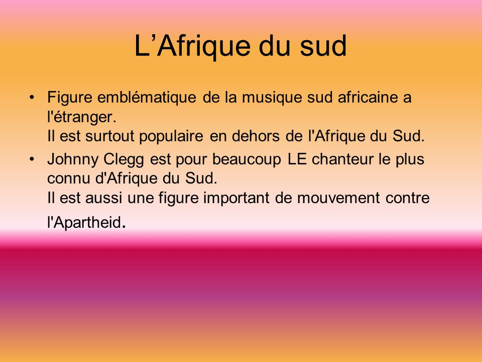 LAfrique du sud Figure emblématique de la musique sud africaine a l étranger.