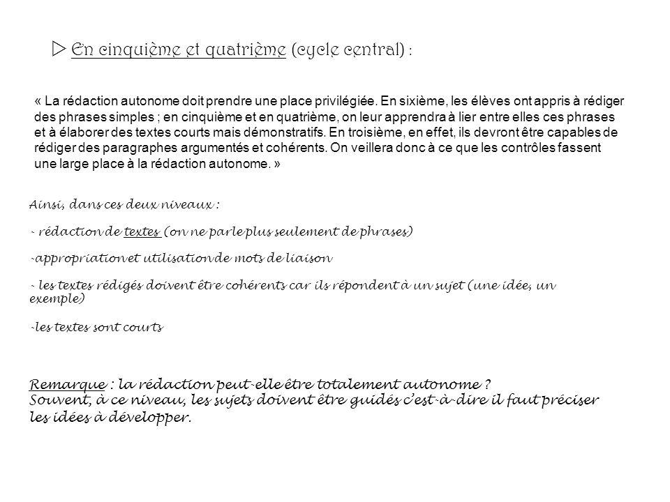 En cinquième et quatrième (cycle central) : « La rédaction autonome doit prendre une place privilégiée. En sixième, les élèves ont appris à rédiger de