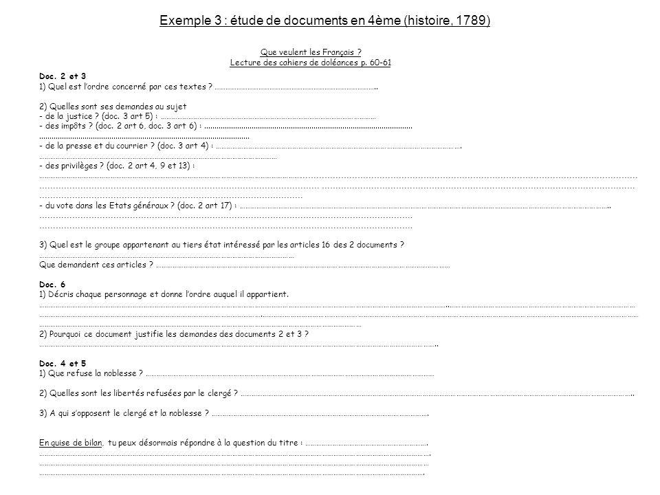 Que veulent les Français ? Lecture des cahiers de doléances p. 60-61 Doc. 2 et 3 1) Quel est lordre concerné par ces textes ? ………………………………………………………………