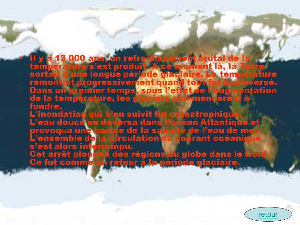 Il y a 13 000 ans, un refroidissement brutal de la température sest produit. A ce moment là, la Terre sortait dune longue période glaciaire. La tempér