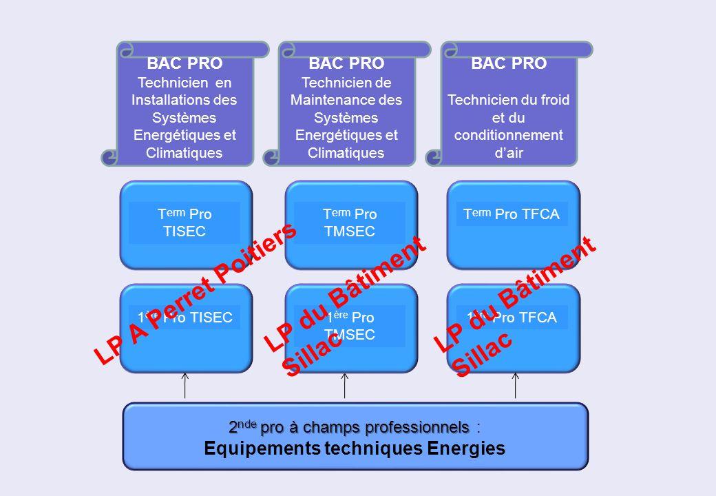2 nde pro à champs professionnels 2 nde pro à champs professionnels : Equipements techniques Energies 1 ère Pro TISEC T erm Pro TISEC BAC PRO Technici
