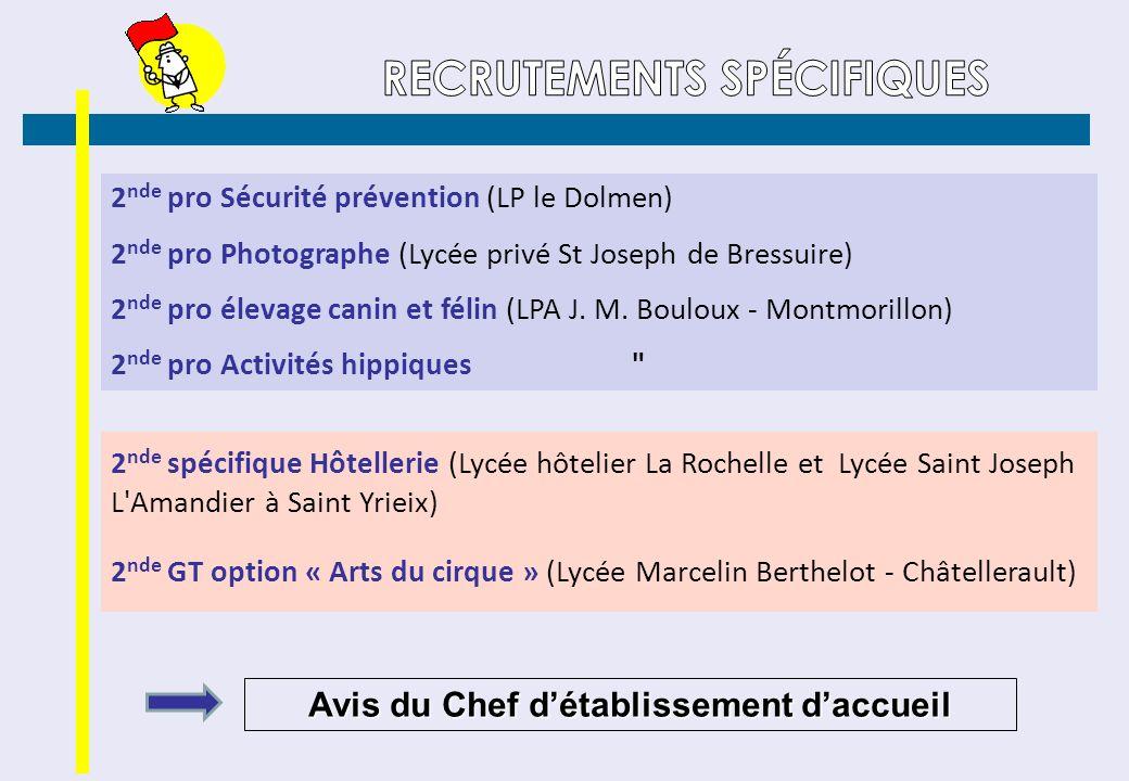 2 nde pro Sécurité prévention (LP le Dolmen) 2 nde pro Photographe (Lycée privé St Joseph de Bressuire) 2 nde pro élevage canin et félin (LPA J. M. Bo