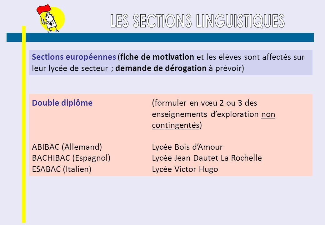 Sections européennes (fiche de motivation et les élèves sont affectés sur leur lycée de secteur ; demande de dérogation à prévoir) Double diplôme (for