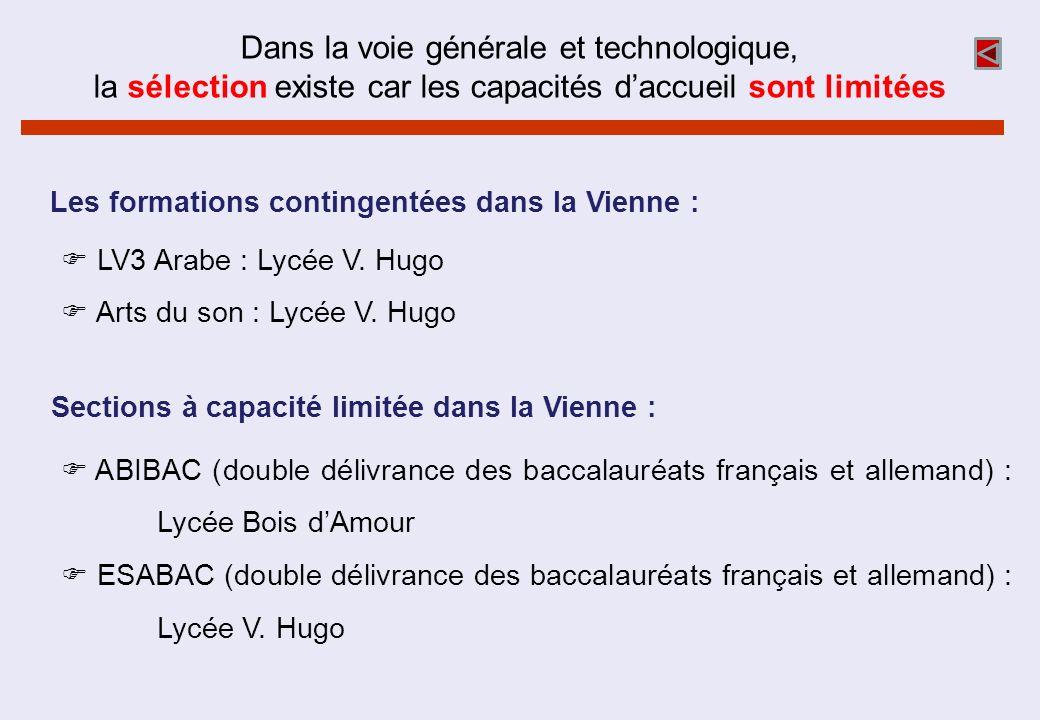 Dans la voie générale et technologique, la sélection existe car les capacités daccueil sont limitées LV3 Arabe : Lycée V. Hugo Arts du son : Lycée V.