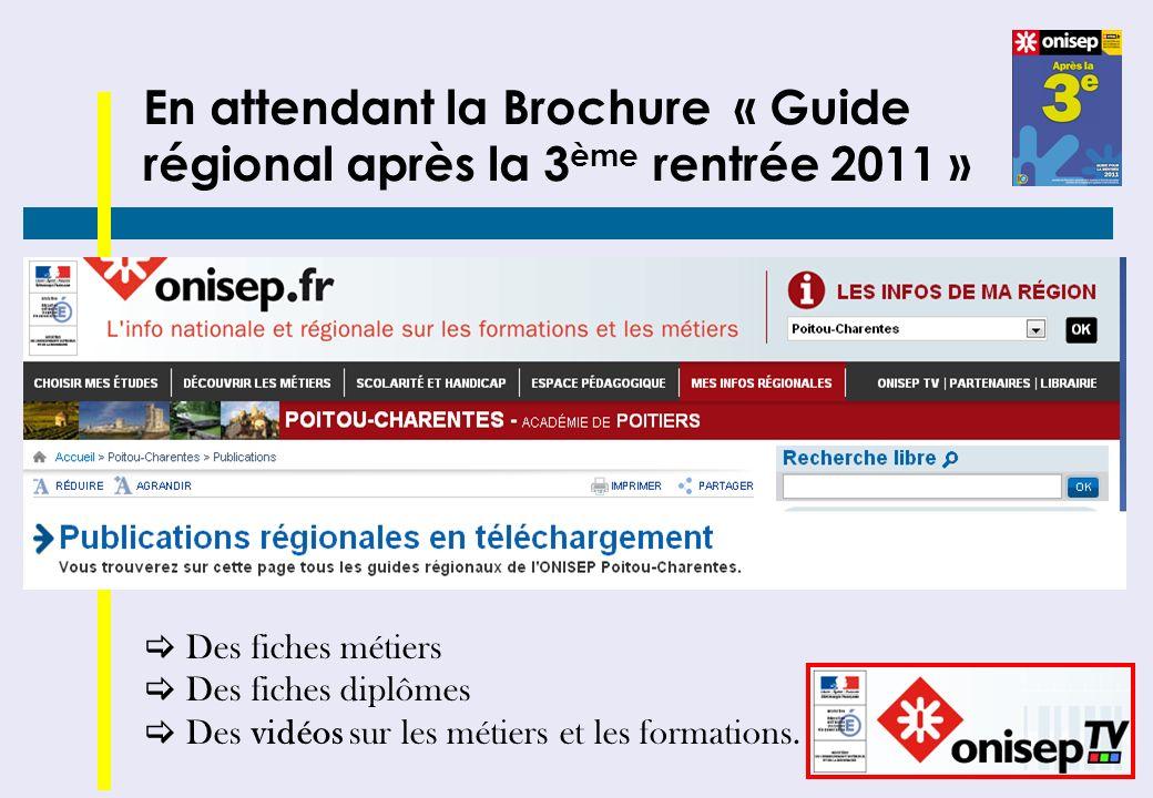 En attendant la Brochure « Guide régional après la 3 ème rentrée 2011 » Des fiches métiers Des fiches diplômes Des vidéos sur les métiers et les forma