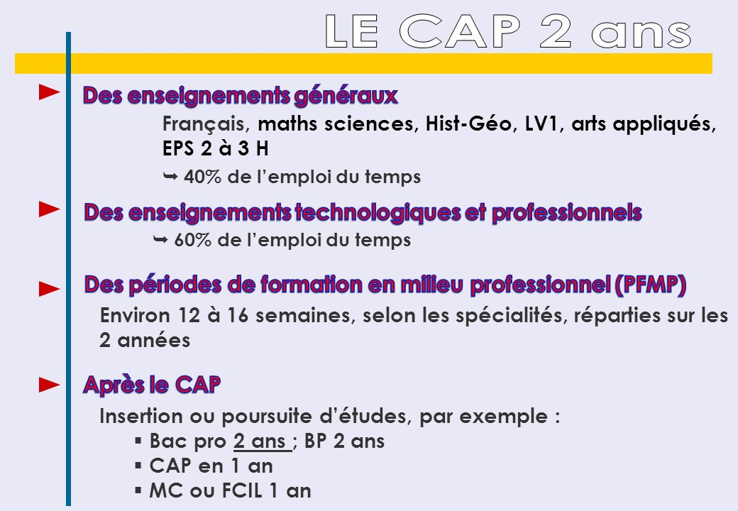 Français, maths sciences, Hist-Géo, LV1, arts appliqués, EPS 2 à 3 H 40% de lemploi du temps Insertion ou poursuite détudes, par exemple : Bac pro 2 ans ; BP 2 ans CAP en 1 an MC ou FCIL 1 an Environ 12 à 16 semaines, selon les spécialités, réparties sur les 2 années