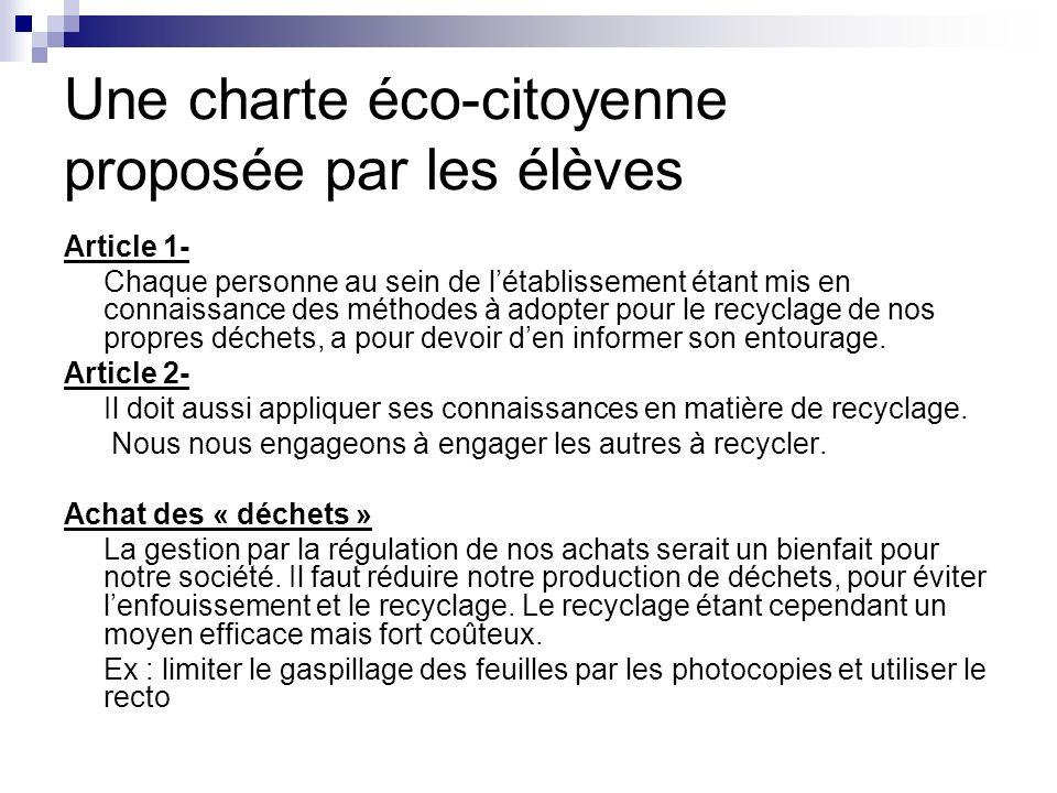 Une charte éco-citoyenne proposée par les élèves Article 1- Chaque personne au sein de létablissement étant mis en connaissance des méthodes à adopter
