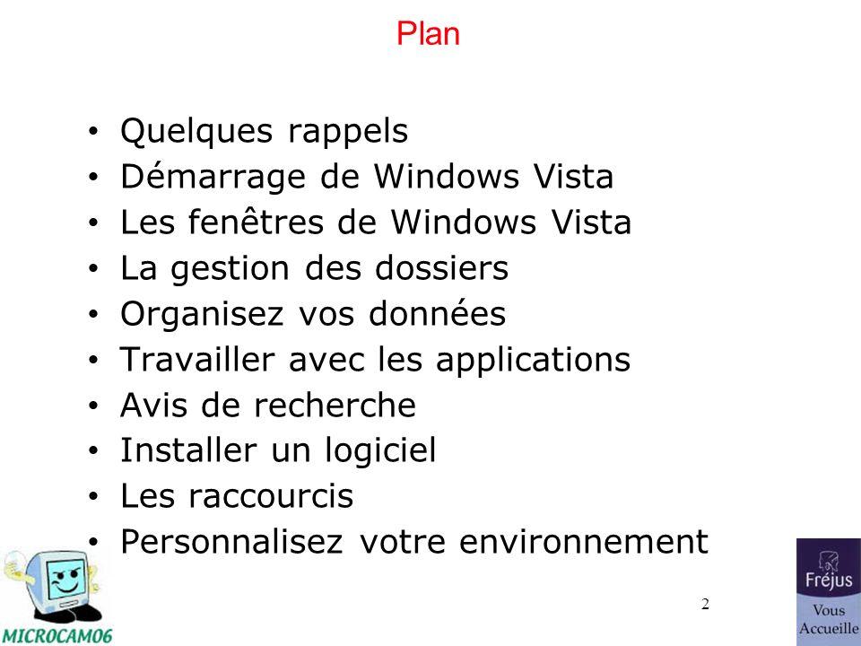 2 Plan Quelques rappels Démarrage de Windows Vista Les fenêtres de Windows Vista La gestion des dossiers Organisez vos données Travailler avec les applications Avis de recherche Installer un logiciel Les raccourcis Personnalisez votre environnement