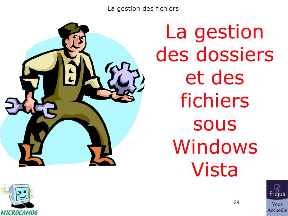 34 La gestion des fichiers La gestion des dossiers et des fichiers sous Windows Vista