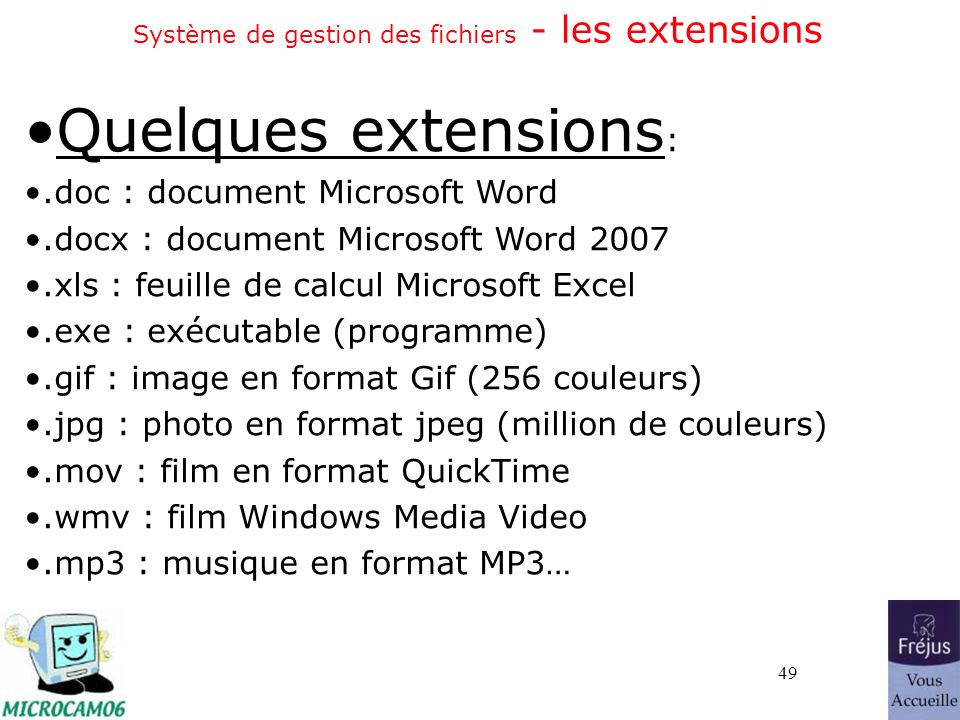 49 Système de gestion des fichiers - les extensions Quelques extensions :.doc : document Microsoft Word.docx : document Microsoft Word 2007.xls : feuille de calcul Microsoft Excel.exe : exécutable (programme).gif : image en format Gif (256 couleurs).jpg : photo en format jpeg (million de couleurs).mov : film en format QuickTime.wmv : film Windows Media Video.mp3 : musique en format MP3…