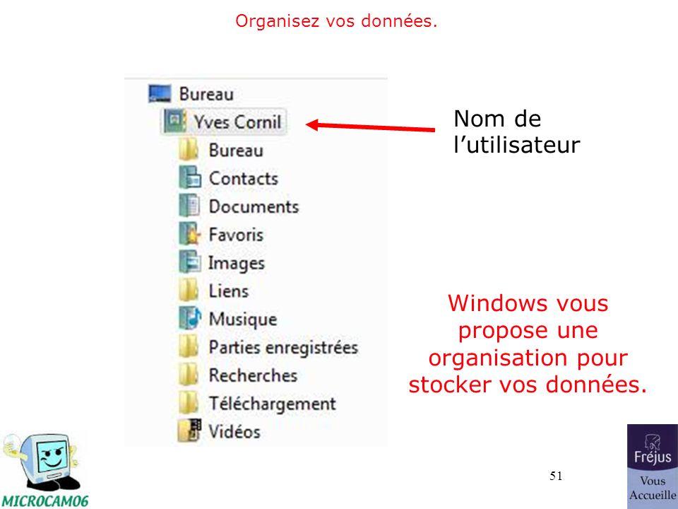 51 Organisez vos données.Windows vous propose une organisation pour stocker vos données.