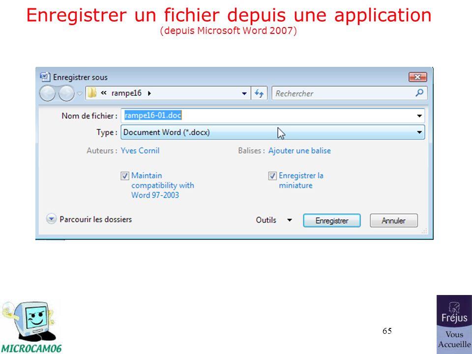65 Enregistrer un fichier depuis une application (depuis Microsoft Word 2007)