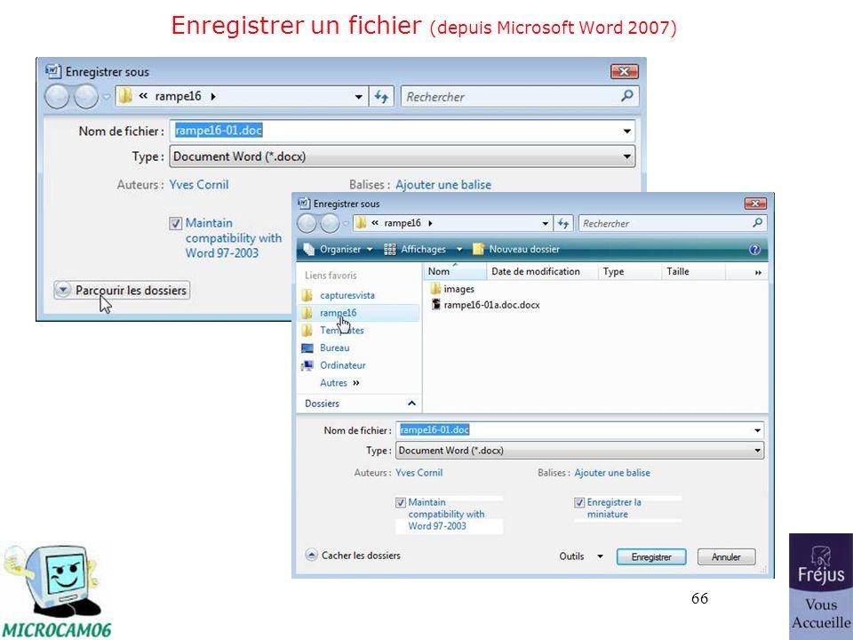66 Enregistrer un fichier (depuis Microsoft Word 2007)