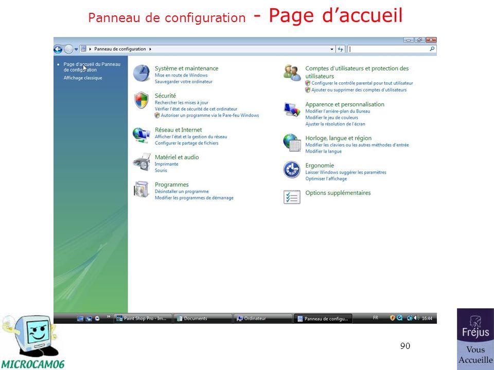 90 Panneau de configuration - Page daccueil