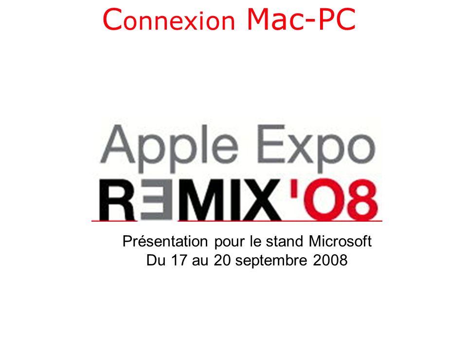 PLAN Connexion du Mac à un PC Mise en œuvre du partage sous Windows Vista Connexion dun PC à un Mac Partage de la musique avec iTunes Bootcamp pour installer Windows Vista sur un Mac Intel.