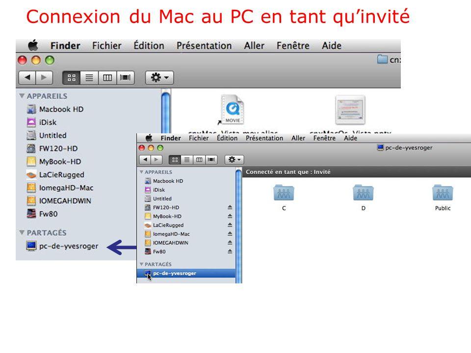 Connexion du Mac au PC en tant quutilisateur référencé
