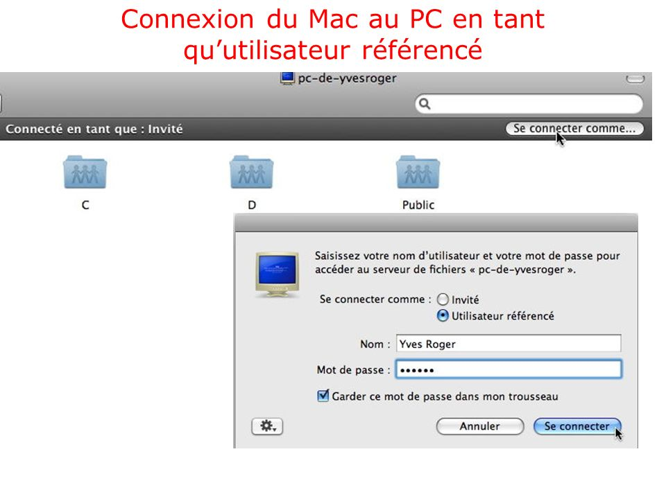 Activer le partage sur le Mac Sélectionnez les dossiers ou disques accessibles depuis un PC.