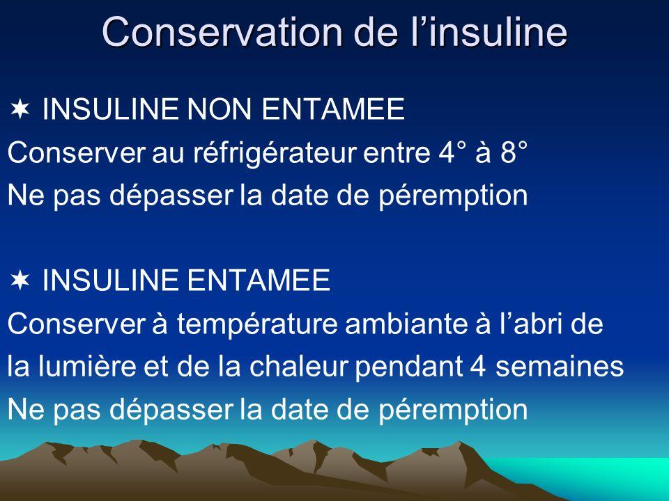 Conservation de linsuline INSULINE NON ENTAMEE Conserver au réfrigérateur entre 4° à 8° Ne pas dépasser la date de péremption INSULINE ENTAMEE Conserv