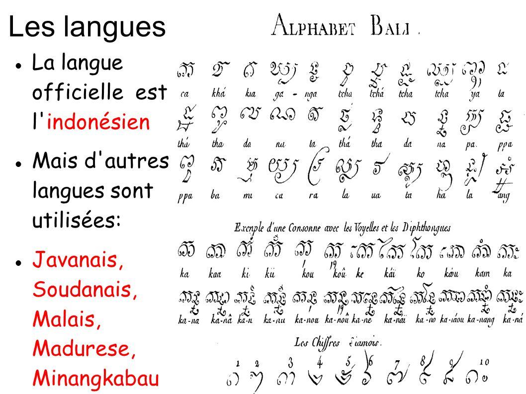 Les langues La langue officielle est l'indonésien Mais d'autres langues sont utilisées: Javanais, Soudanais, Malais, Madurese, Minangkabau