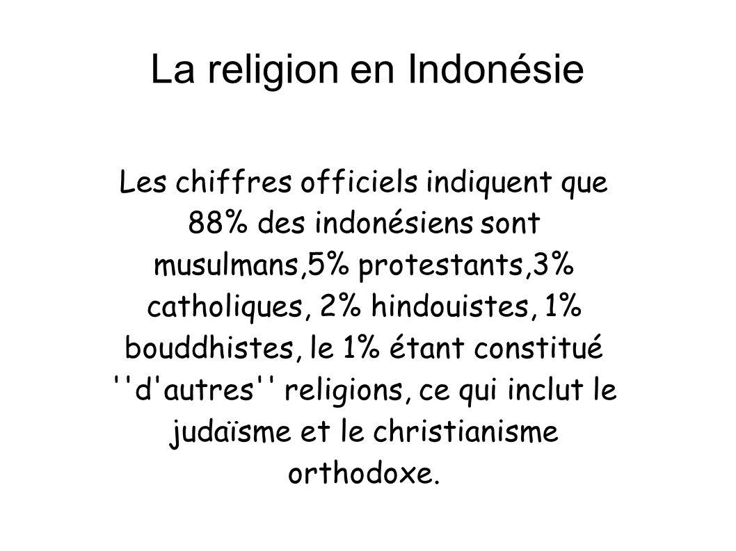 La religion en Indonésie Les chiffres officiels indiquent que 88% des indonésiens sont musulmans,5% protestants,3% catholiques, 2% hindouistes, 1% bou