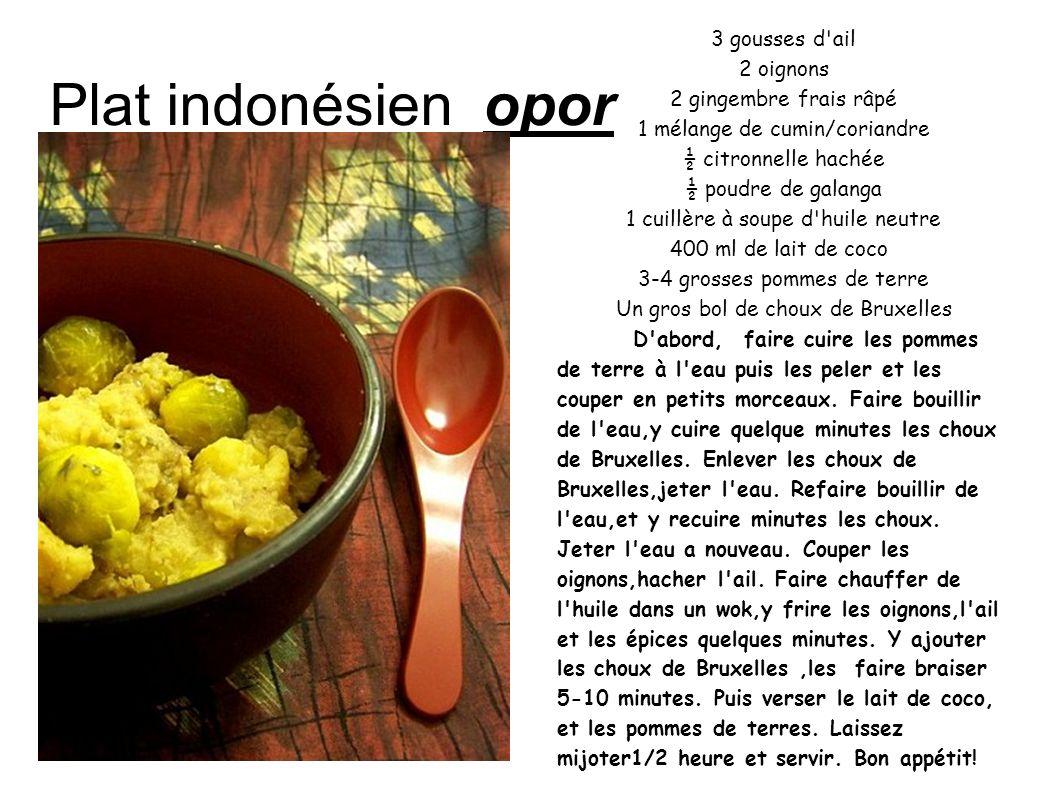 Plat indonésien opor 3 gousses d'ail 2 oignons 2 gingembre frais râpé 1 mélange de cumin/coriandre ½ citronnelle hachée ½ poudre de galanga 1 cuillère
