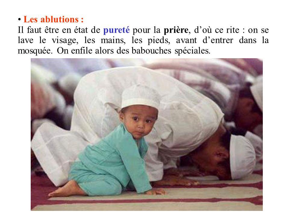 Les ablutions : Il faut être en état de pureté pour la prière, doù ce rite : on se lave le visage, les mains, les pieds, avant dentrer dans la mosquée