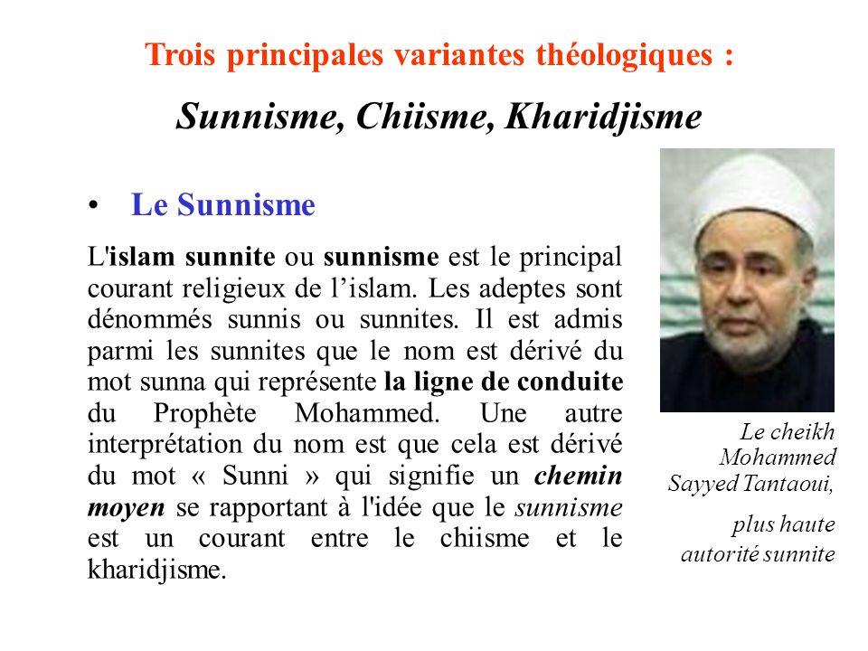 L'islam sunnite ou sunnisme est le principal courant religieux de lislam. Les adeptes sont dénommés sunnis ou sunnites. Il est admis parmi les sunnite