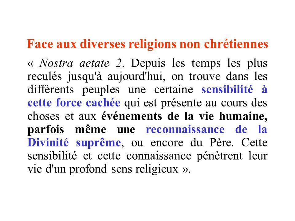Face aux diverses religions non chrétiennes « Nostra aetate 2. Depuis les temps les plus reculés jusqu'à aujourd'hui, on trouve dans les différents pe