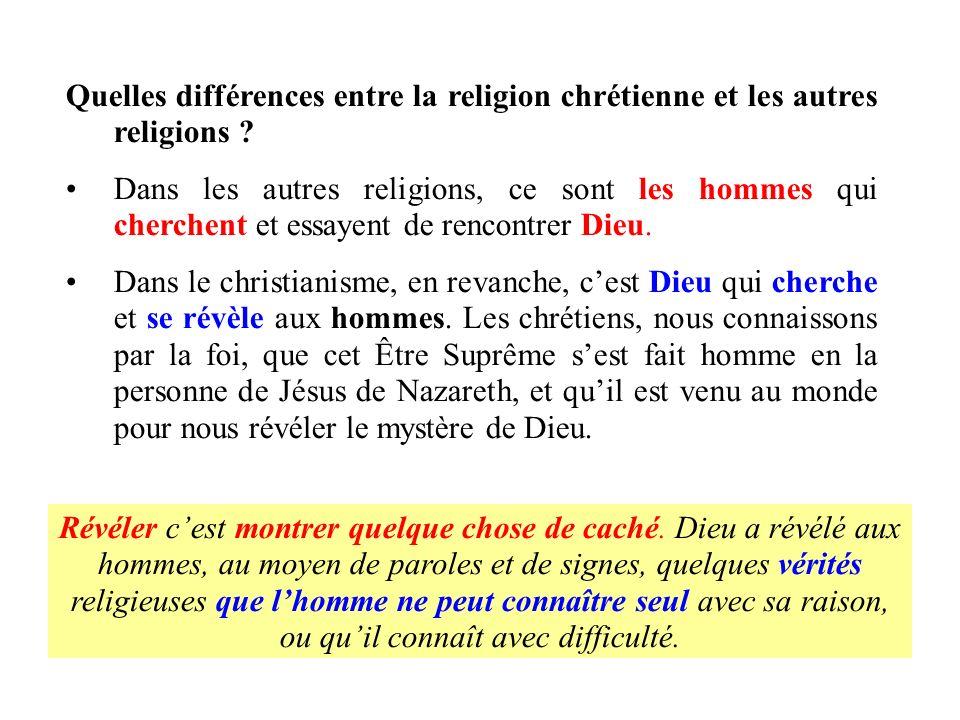 Quelles différences entre la religion chrétienne et les autres religions ? Dans les autres religions, ce sont les hommes qui cherchent et essayent de